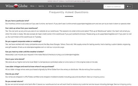 Screenshot of FAQ Page wineglobe.com - Frequently Asked Questions - Wine Globe - captured Sept. 20, 2018