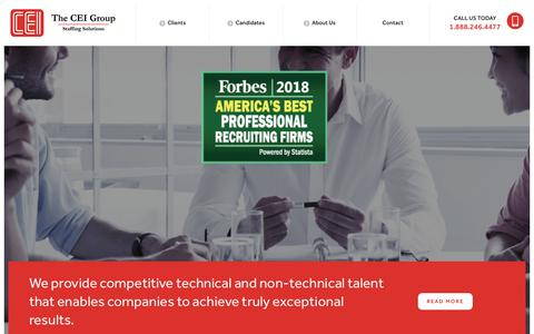 Screenshot of Home Page theceigroup.com - Technical Staffing Firm   Talent Solutions   The CEI Group - captured Nov. 1, 2018