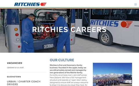 Screenshot of Jobs Page ritchies.co.nz - Careers — Ritchies New Zealand's No.1 transport provider - captured Jan. 3, 2018