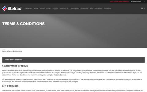 Screenshot of Terms Page stelrad.com - Terms & Conditions - Stelrad - captured Oct. 7, 2014