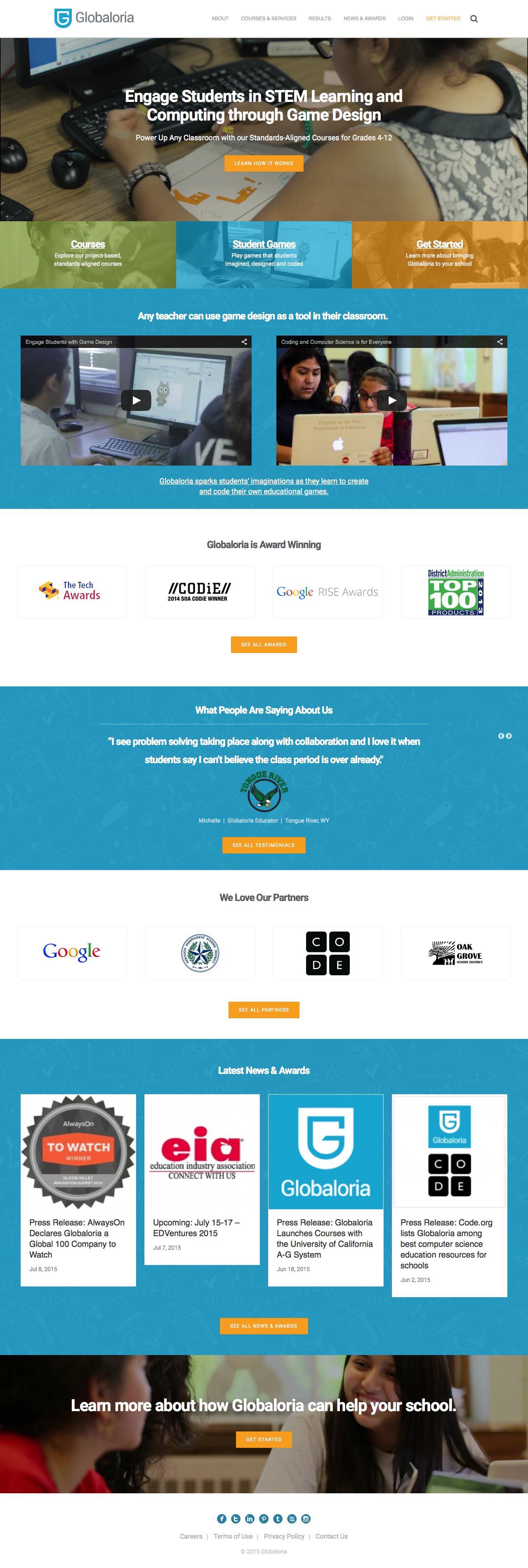 Screenshot of globaloria.com - HOME - Globaloria - captured July 22, 2015