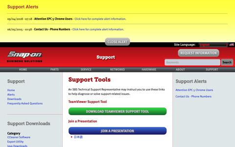 Screenshot of Support Page snapon.com - Support   Snap-on Business Solutions - captured Sept. 27, 2018