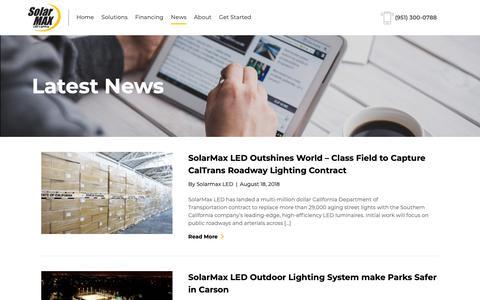 Screenshot of Press Page solarmaxled.com - Latest News - Solarmax LED - captured Oct. 3, 2018