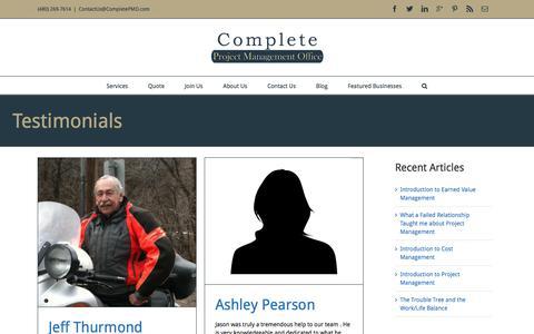 Screenshot of Testimonials Page completepmo.com - Testimonials Archive - - captured Jan. 30, 2016