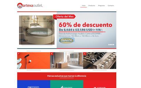 Screenshot of Home Page artexaoutlet.com - Artexa Outlet - Página Inicial - captured Sept. 11, 2015