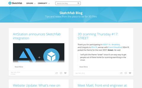 Screenshot of Blog sketchfab.com - Sketchfab Blog - captured Sept. 17, 2014