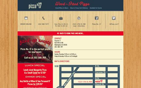 Screenshot of Contact Page Maps & Directions Page Hours Page 17pizzas.com - Pizza No. 17 - captured Oct. 2, 2014