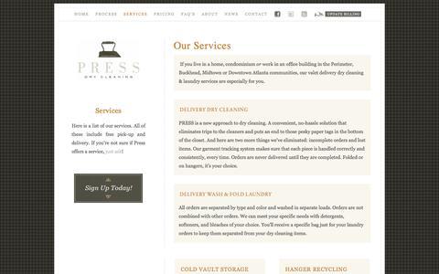 Screenshot of Services Page pressatlanta.com - Our Services — Press Cleaners - captured Nov. 11, 2016