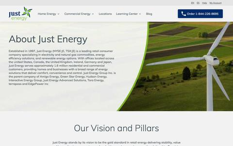 Screenshot of About Page justenergy.com - About Us | Just Energy - captured Sept. 17, 2019