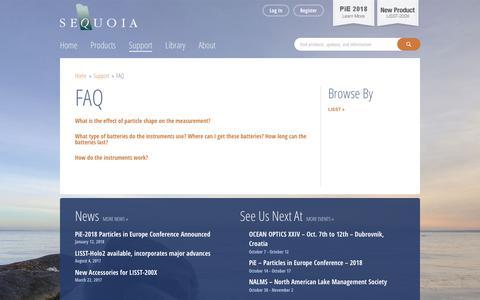 Screenshot of FAQ Page sequoiasci.com - FAQ - Sequoia ScientificSequoia Scientific - captured Oct. 1, 2018