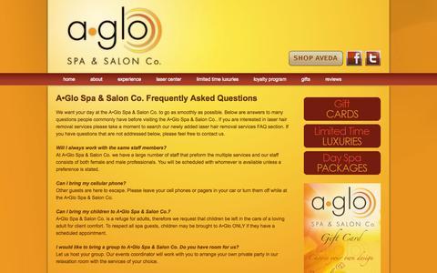 Screenshot of FAQ Page aglospa.com - FAQ's for A•Glo Spa & Salon Co. | An Aveda Concept Salon in Janesville, WI providing spa and salon services. - captured Oct. 2, 2014