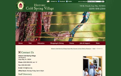 Screenshot of Contact Page hcsv.org - Contact Us «  Historic Cold Spring Village Cape May County Living History Museum - captured Oct. 3, 2014