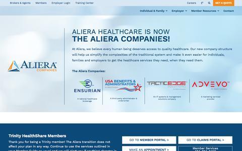 Screenshot of Home Page alierahealthcare.com - Aliera Companies - captured July 2, 2019