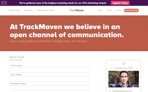 Screenshot of Contact Page trackmaven.com - Contact - TrackMaven - captured Sept. 17, 2014