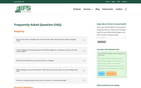 Screenshot of FAQ Page ifsforhomehealth.com - Frequently Asked Question (FAQ) - Innovative Financial Solutions for Home Health - captured July 6, 2017