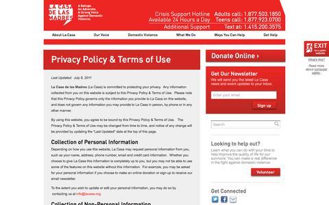 Screenshot of Privacy Page lacasa.org - Privacy Policy & Terms of Use   | La Casa de las Madres - captured July 10, 2017