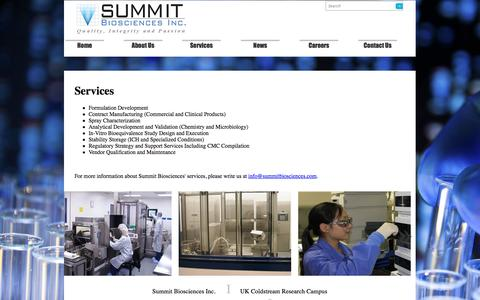 Screenshot of Services Page summitbiosciences.com - Summit Biosciences Inc. is a specialty pharmaceutical company focused on developing, manufacturing - captured Oct. 7, 2014