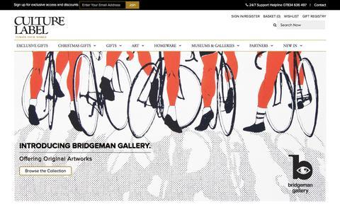 Screenshot of Home Page culturelabel.com - Unique Gifts & Unusual Present Ideas | CultureLabel London - captured Dec. 13, 2015