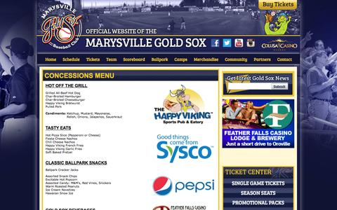 Screenshot of Menu Page goldsox.com - Official Website of the Marysville Gold Sox: Concessions Menu - captured Feb. 12, 2016
