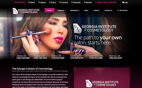 Screenshot of Home Page gic.edu - Beauty School in Cumming Georgia, Cumming, Cummings, GA, Georgia, Athe - captured Oct. 2, 2014