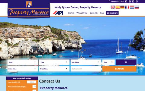 Screenshot of Contact Page propertymenorca.com - Contact Us - captured Sept. 30, 2018