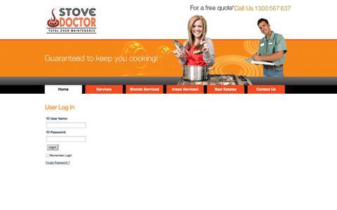 Screenshot of Login Page stovedoc.com.au - User Log In - captured Oct. 7, 2014