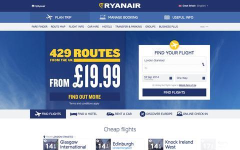 Screenshot of Home Page ryanair.com - Cheap Flights | Cheap Flights to Europe | Ryanair - captured Sept. 19, 2014