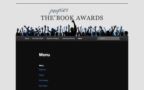 Screenshot of Menu Page thebookawards.com - Menu | The Book Awards - captured April 3, 2016