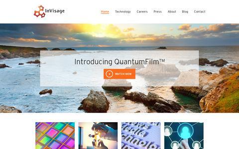 Screenshot of Home Page invisage.com - InVisage - captured July 11, 2014