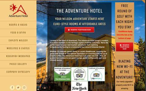 Screenshot of Home Page adventurehotel.ca - The Adventure Hotel Nelson British Columbia - captured July 7, 2018