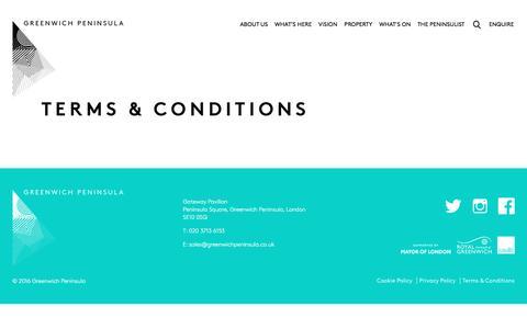Screenshot of Terms Page greenwichpeninsula.co.uk - Terms & Conditions - Greenwich Peninsula - captured Nov. 16, 2016