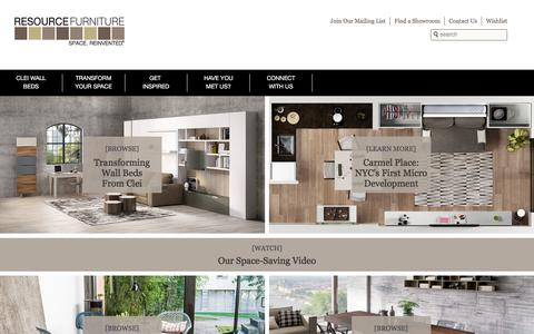 Screenshot of Home Page resourcefurniture.com - Space Saving Furniture | Resource Furniture | Murphy Beds, Wall Beds and More - captured Jan. 19, 2016