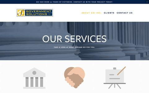 Screenshot of Services Page govsol.com - Government Relations For Land Use Issues   Government Solutions Inc - captured Nov. 13, 2016