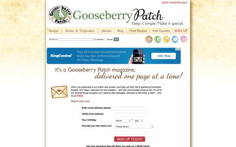 Screenshot of Signup Page gooseberrypatch.com - Gooseberry Patch: Join our E-mail Club for FREE recipes, special offers and sneak peeks at new products! - captured Jan. 8, 2016