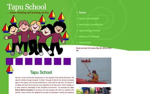 Screenshot of Home Page tapu.school.nz - Tapu School Marine Academy Coromandel Peninsula New Zealand - captured May 30, 2016