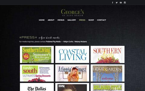 Screenshot of Press Page georgesatalysbeach.net - George's at Alys Beach   –  Press - captured Sept. 29, 2014