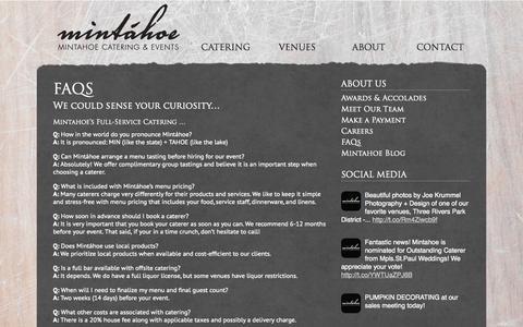 Screenshot of FAQ Page mintahoe.com - FAQs | Mintáhoe - captured Oct. 9, 2014