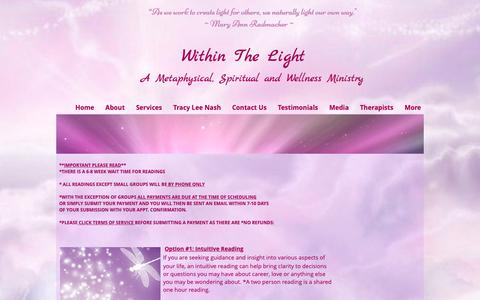 Screenshot of Services Page withinthelight.com - Within The Light Services - captured Oct. 20, 2018