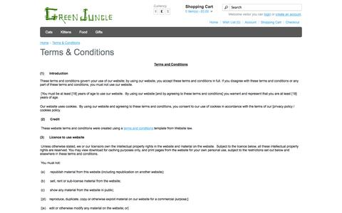 Screenshot of Terms Page greenjungle.co.uk - Terms & Conditions - captured Sept. 30, 2014