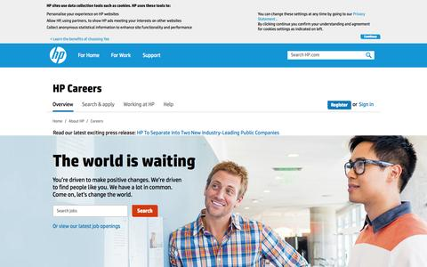 Screenshot of Jobs Page hp.com - Jobs and careers at HP | HP® Official Site - captured Oct. 22, 2014