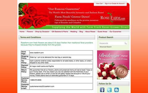Screenshot of Terms Page rosefarm.com captured Oct. 6, 2014