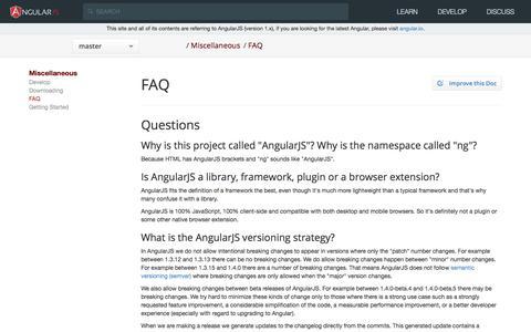 Screenshot of FAQ Page angularjs.org - AngularJS: Miscellaneous: FAQ - captured June 20, 2017