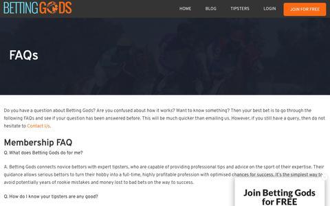 Screenshot of FAQ Page bettinggods.com - FAQs | Betting Gods - captured June 16, 2019