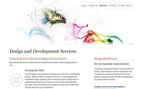 Screenshot of Services Page sweet-web-design.com - Services: UX/ UI design & Front-end, Print production - captured Nov. 3, 2019