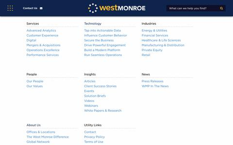 Screenshot of Site Map Page westmonroepartners.com - Site Map | West Monroe Partners - captured Jan. 18, 2018