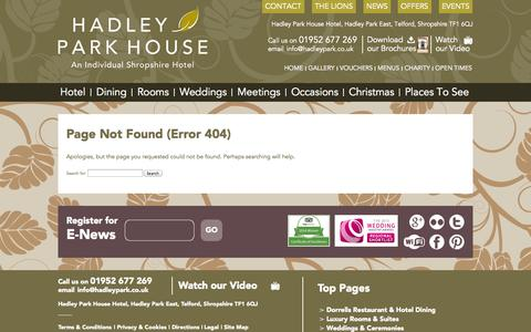 Screenshot of Jobs Page 404 Page hadleypark.co.uk - Error 404: Page Not Found - captured Oct. 2, 2014