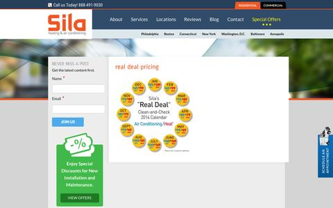 Screenshot of Landing Page sila.com - real deal pricing - Sila Air Conditioning and Heating - captured Nov. 5, 2015