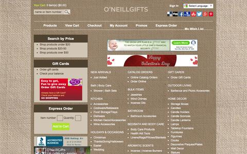 Screenshot of Products Page oneillgifts.com - Browse Departments - ONeill International - captured Feb. 14, 2016