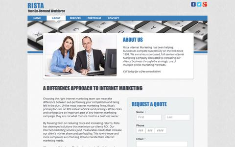 Screenshot of About Page rista.com - Internet Marketing Company | Rista - captured Oct. 22, 2017