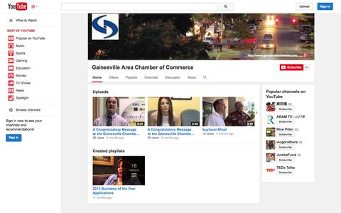 Screenshot of YouTube Page youtube.com - Gainesville Area Chamber of Commerce  - YouTube - captured Oct. 22, 2014